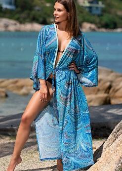 Пляжное платье голубое