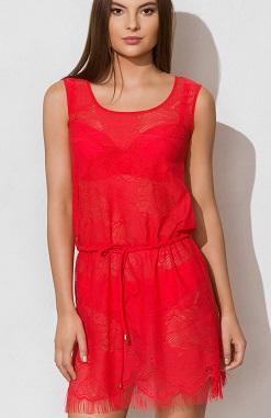 Пляжное платье красное