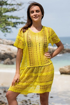 Пляжное платье желтое из хлопка