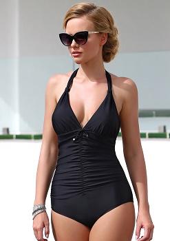 Черный слитный купальник без косточек