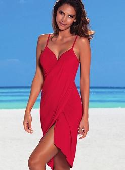 Красное платье пляжное